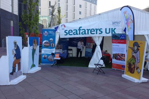 The marquee at the Belfast Maritime Festival complete with cut outs that proved popular with the younger generation