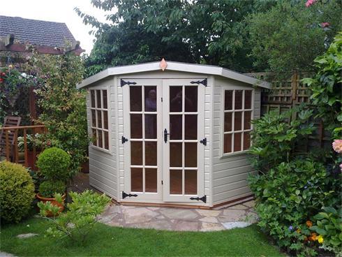 Corner Style Summerhouse With Small Pane Hardwood Doors