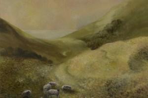 Sheep near Golden Cap. Oil on canvas board 10in x 12in