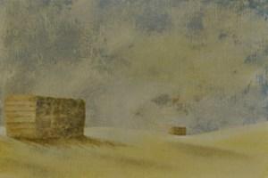 Haystacks, Dorset. Oil on linen board 8in x 12in.