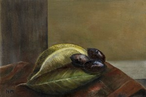 Still life with sea. Oil on canvas board 5in x 7in. SOLD