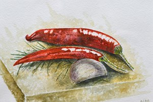 Chillies, garlic and rosemary, Dorset. Watercolour on paper 5in x 7in.