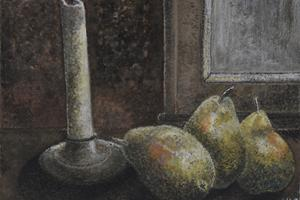 Pears, Oxford. Watercolour on paper 4in x 6in. SOLD