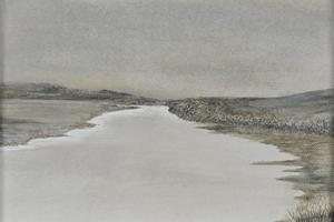 Mouth of the river, low tide. Oil on oil paper 5in x 7in