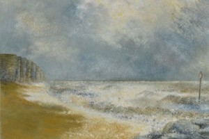 High sea at West Bay - oil on board 12in x 16in
