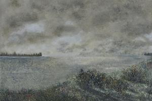Floods, Port Meadow. Oil on paper 14 in x 11 in