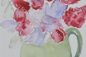 Sweet peas. Watercolour on paper 5in x 7in