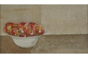Dorset apples. Watercolour on paper 2.75in x 4.75in. Not for sale.