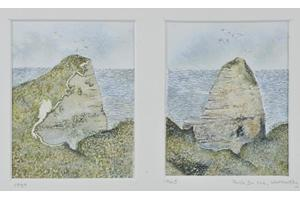 Pointe Du Hoc, Normandy 1939/1945. Two watercolours on paper, each 4.75in x 3.75in