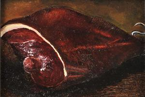 Christmas ham. Oil on board 5in x 7in. Not for sale.