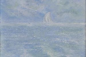 Yacht on blue, Provence. Oil on canvas 10in x 8in. SOLD.