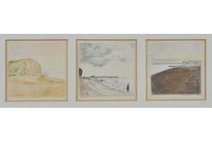 East and West, West Bay, Dorset. Three drawings in crayon on paper, each 2.5in x 2.5in. Not for sale.