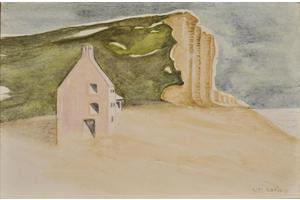 Pink cottage, East Beach, West Bay. Watercolour on paper 5in x 7in. Not for sale.