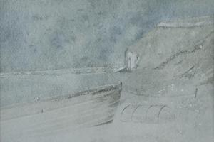Golden Cap, Dorset with lobster pot. Watercolour on paper 5.5in x 7.5in.
