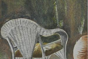 Chair, Katounia, Greece. Watercolour on paper. 4.5in x 6.5in. Not for sale.