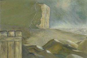 Chesil Beach at West Bay. Oil on canvas 10in x 12in