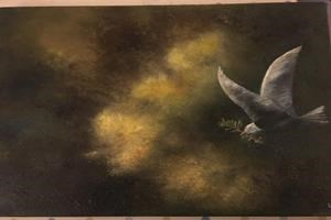 'Flown 7.11.16'. Oil on canvas.12in x 16in. SOLD