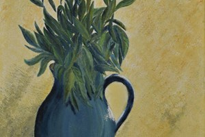 Green leaves in blue jug. Oil on canvas. 10in x 14in.