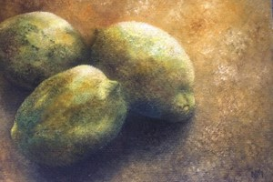 Three lemons on a hot day. Oil on board. 5in x7in.