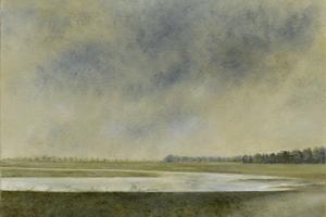 Port Meadow in flood. Oil on board 12in x 10in. SOLD