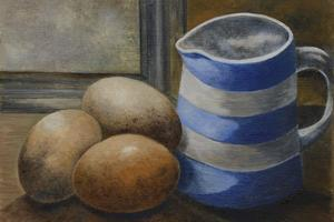 Eggs with jug. Oil on oil paper 6in x 8in. SOLD