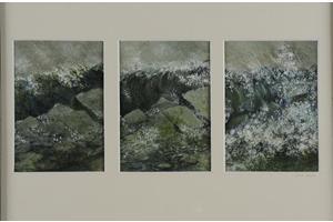 Breaking wave. Oil on oil paper. Triptych each 7in x 5in.