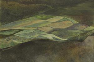 From Golden Cap, spring. Oil on card 8.5in x 11.5in. SOLD