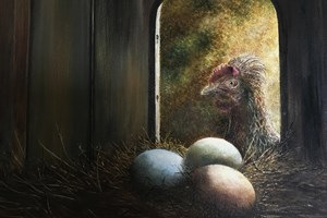 Mrs Murray and her eggs. Oil on canvas 10in x 12in. SOLD