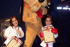 Twins in Euro-disney competing at the European Martial Arts festival