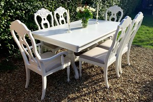 French Provence shabby chic dining set, reupholstered, painted and varnished.