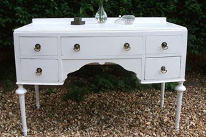 Edwardian shabby chic dressing table with dark antique drop handles, painted and varnished.