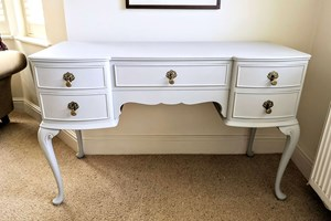 Commissioned vintage dressing table painted and waxed with antique gold drop handles