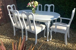 Shabby chic French style dining table and chairs, painted and reupholstered