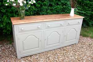Commissioned vintage sideboard, painted and distressed with natural oak top