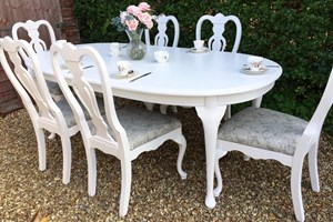 Shabby chic French renaissance dining set, painted, waxed and reupholstered