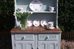 Rustic farmhouse dresser, painted and distressed with solid dark oak top