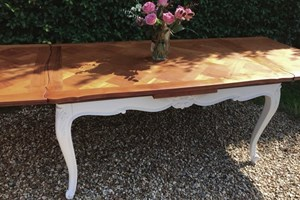 Louis XV style painted dining table with natural cherry wood parquet top