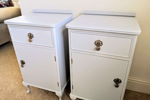 Commissioned vintage bedside tables, painted and waxed with antique gold drop handles.