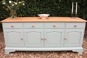 Country farmhouse sideboard, hand painted and waxed with a solid maple top and matching knobs.