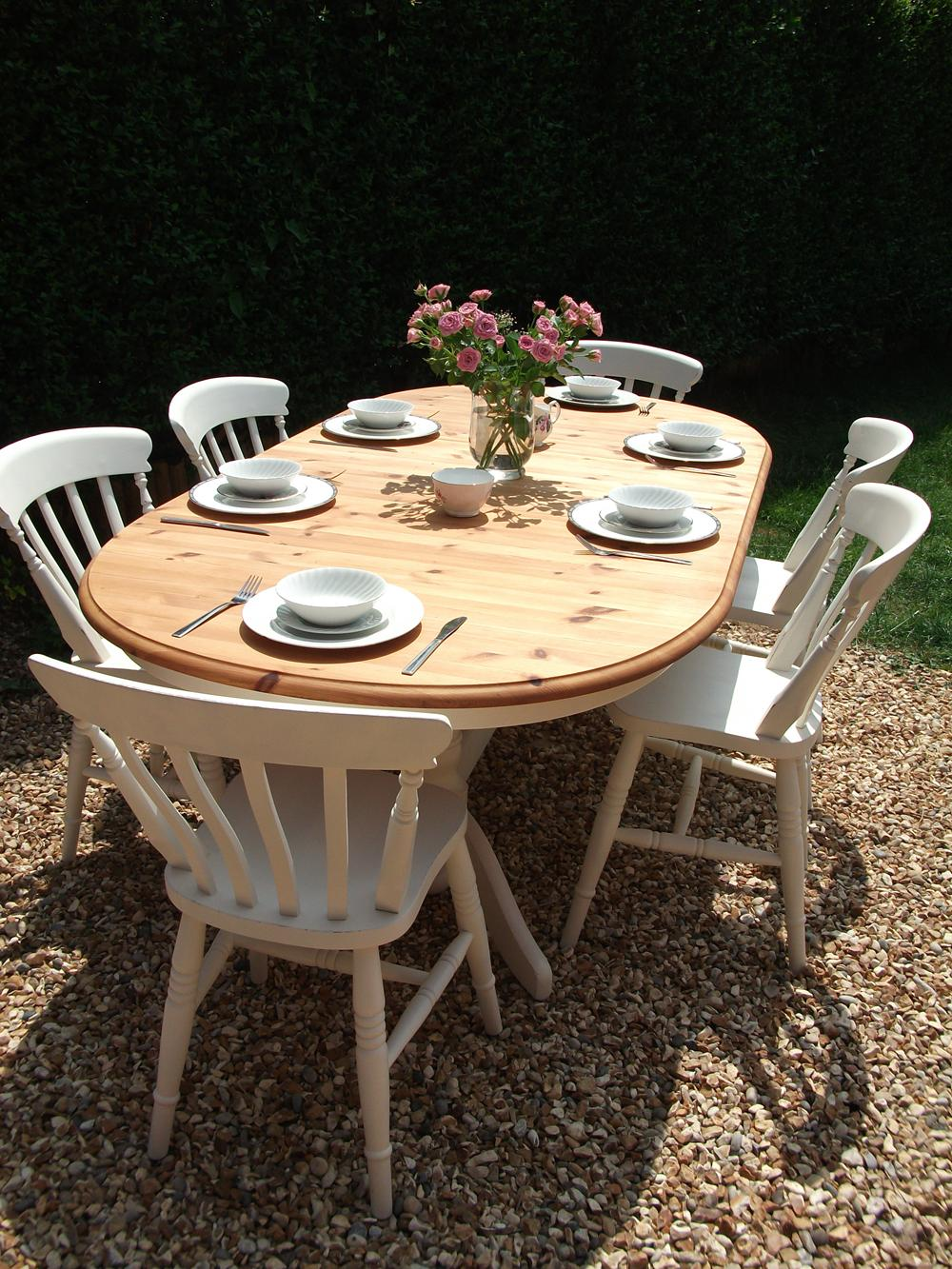 Blues and hues bespoke furniture painting surrey for Rustic shabby chic dining table