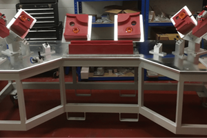 Assembly fixture on fabricated steel table with PU blocks