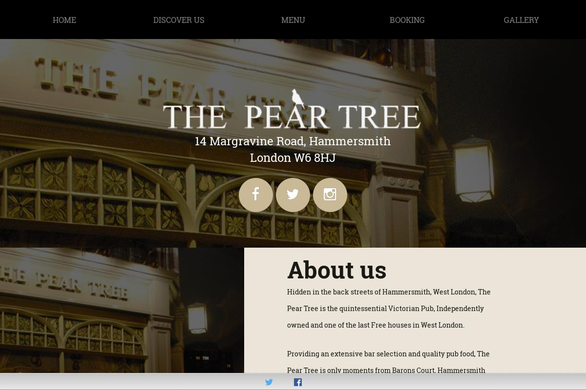 Welcome To The Pear Tree Fulham : The Pear Tree Fulham