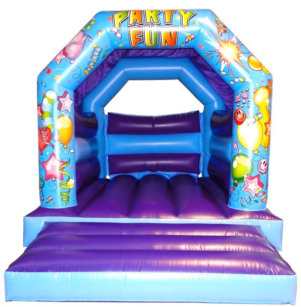Blue/Purple Party Bouncy Castle\r\n\r\nSize 11 x 15\r\n3 35m x 4 58m This castle is 10 tall\r\n\r\nMax age 12 years old\r\n\r\nMax capacity at any one time 10 varies due to age\r\n\r\nPrice 60 GBP