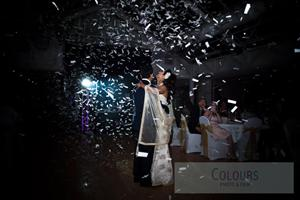 Confetti blasts can be used for your cake cutting ceremony