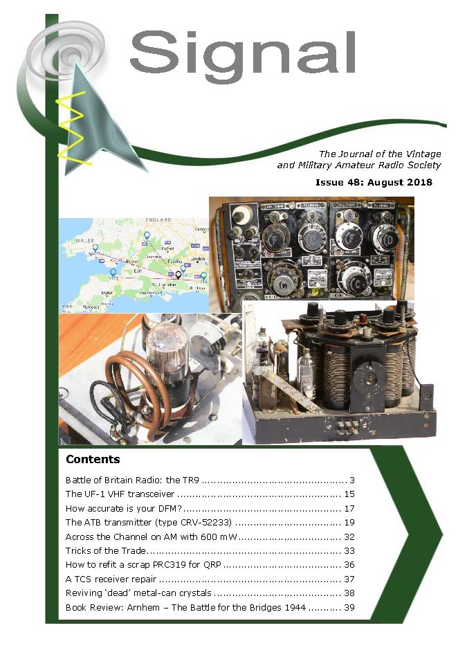 Front Cover of the VMARS quarterly technical journal Signal 2018