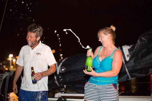 Joy at landing in Grenada with my soon to be husband, Chris Frost