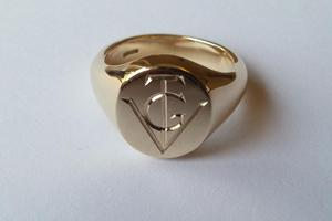 Gold Signet Ring with Monogram