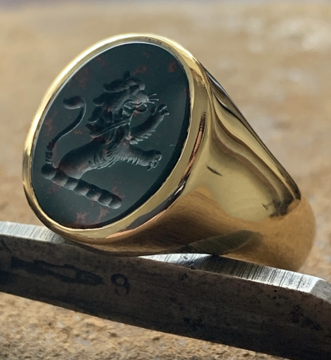 hand engraved mens bloodstone signet ring