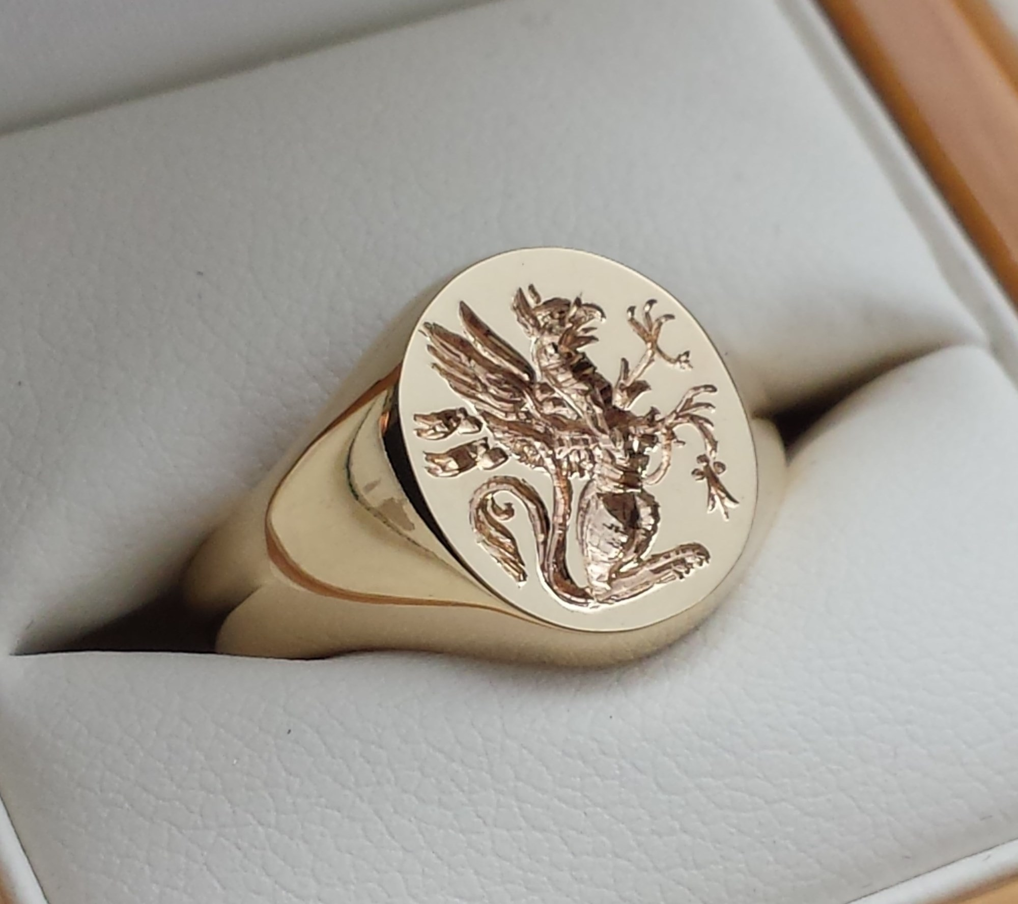 mens gold signet ring with family crest