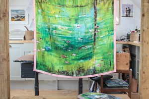 Lily Pond Large 100% silk scarf hand finished size 90x90cm Taken from my original oil painting inspired by a Lily pond on now of my country walks.